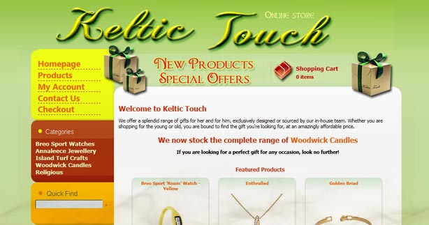 Keltic Touch ecommercce gift shop Website